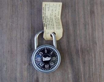 Vintage Dudley Combination School Lock w/Combination NOS . USA MADE.. Metal Lock....Works .