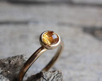 Checkerboard Rose-Cut Montana Sapphire Engagement Ring Golden Orange Brown 14K Yellow Gold Bridal Band September Birthstone - Sunset Acorn
