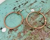 Hoop Earrings /Hammered Copper/ Large Hoop Earrings/ Hoop Earrings/ Copper Earrings/ Hoops/ Handmade