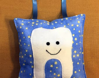 hanging blue tooth fairy pillow small