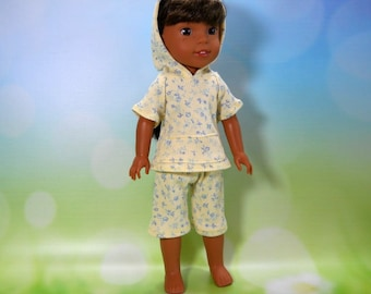 Designed for 14.5 inch dolls such as Wellie Wishers, Yellow with Blue Flowers Hoodie Top and Capris 05-2109