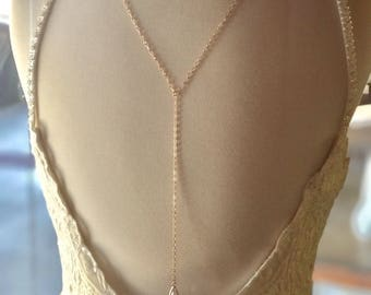 Gold wedding back chain with crystal accents, boho wedding back chain