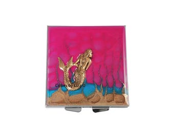 Mermaid Square Pill Box with 4 Compartments Inlaid in Hand Painted Enamel Fuchsia and Peacock Blue with Personalized and Color Options