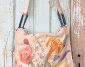 Large Boho Crossbody Bag with Soft Floral Painting