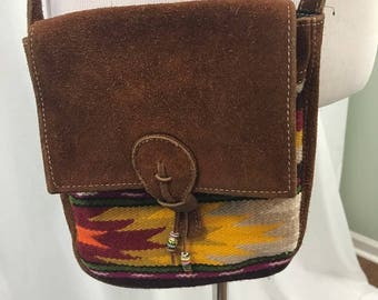 Leather Suede Tapestry Crossbody Purse