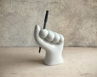 Porcelain White Hand Pencil Toothbrush Holder Closed Fist Hand Figurine Vintage Office Decor