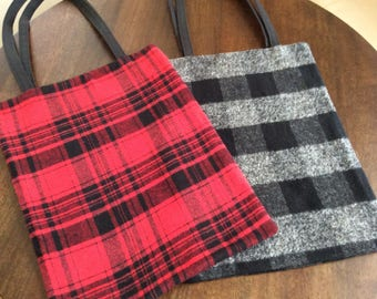 Buffalo Plaid Tote Bag - Back to School Book Bag - Library Tote - Black Red - Bags and Purses