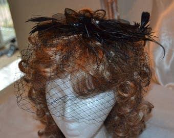 Black Birdcage Veil- Black Feather Fascinator- Cocktail Hat- Black Fascinator- black Wedding Hat- Mother of the Bride- Church Hat- Derby Hat