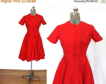 ON SALE 1950s Dress / 50s 60s Dress / 1950s Red Shirtwaist Dress