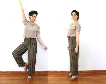 90s Rayon Pants / 1990s Leopard Print High Waisted Trousers