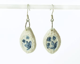 Porcelain ceramic blue and white earrings hand crafted  by Anita Reay AnitaReayArt with sterling silver wire delft one off nst