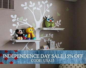 Independence Day Sale - kids wall decal - The ORIGINAL Shelving Tree with Birds - Tree Wall Decal - Shelving tree decal - wall decal - baby