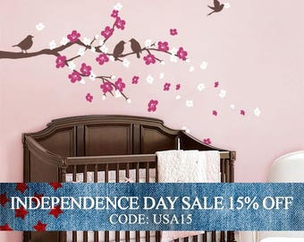 Independence Day Sale - Cherry Blossom Branch with Birds - Kids Vinyl Wall Sticker Decal Set