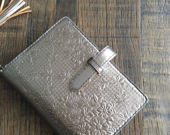 leather binder, silver bouquet, metallic planner, silver planner, silver binder, pocket size, silver flower, planner binder, handstitched