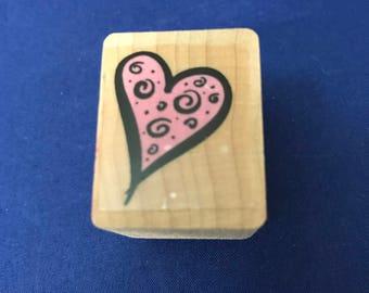 Heart with Swirls, Valentine, Love, Stamp, Whimsy