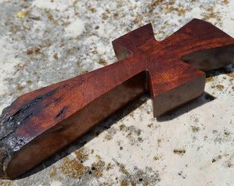 Handmade wood cross magnet made from Texas honey mesquite burl with live edge, Christian decor