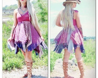 SALE M L Stevie Nicks Dress Boho Sundress, Ombre festival Gypsy Dress, Bohemian Magnolia lace Pearl, Boho Romantic True Rebel clothing