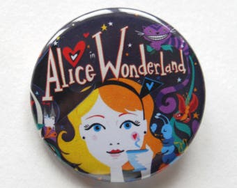 Alice in Wonderland Badge Pin- Cute Badge Pin- Cat Badge Pin- Wearable Art