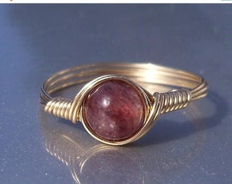 25% Off Sale Muscovite 14k Yellow Gold Filled Wire Wrapped Stone Mineral Ring