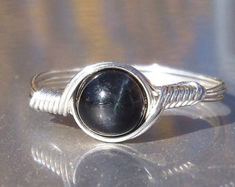 25% Off Sale Blue Tigers Eye Stone Ring, Argentium Sterling Silver Wire Wrapped Ring