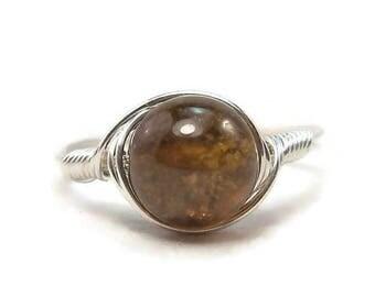25% Off Sale LG Grossular Green Garnet Gemstone Argentium Sterling Silver Wire Wrapped Ring