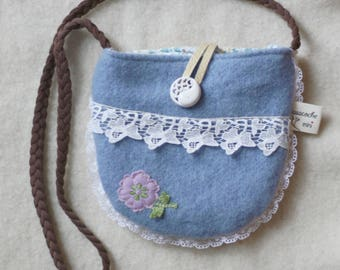 little girl's purse, bag, blue,white, reclaimed wool and leather,flowers,vintage trims, lace
