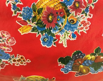 Floral Mexican Oilcloth Vinyl Plastic Pattern Red