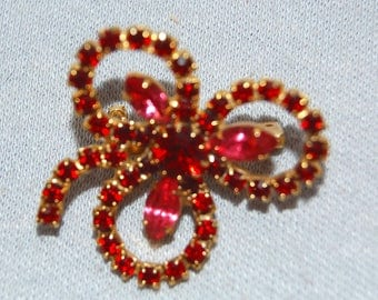 Red Rhinestone Brooch, Gold Tone, Vintage old jewelry