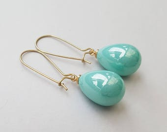 Shimmering Mermaid Aqua Green Pearl Earrings, Teardrop Earrings, Gold Earrings, Gold Filled Ear Wires, Also in Off White, Red Coral and Gray