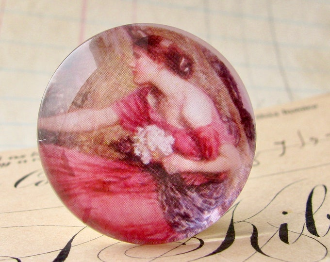 """John William Waterhouse """"Narcissus"""" 25mm glass cabochon, handmade in this shop, Art History collection, 1 inch circle, bottle cap size, pink"""