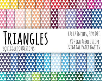 Diamond Pattern Digital Printable Background Paper Kit for Web Design, Crafts, and Scrapbooking Set of 48 - Triangles - Basics