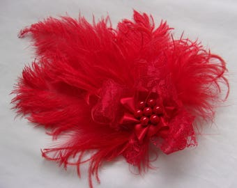 Small & Dainty Bright Scarlet Red Vintage Style Ostrich Feather Lace and Pearl Hair Clip Fascinator Headpiece -Ready Made