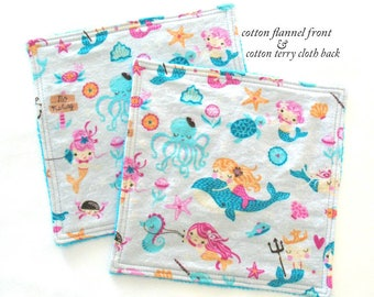 Toddler Washcloths Kids Washcloths Reusable Baby Wipes Cotton Flannel and Terry Cloth Girl Mermaid Baby Washcloths
