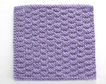 Knit Cotton Washcloth, Facial Washcloth, Knitted Dishcloth, Purple Face Washcloth