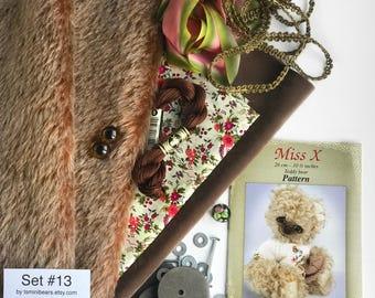 German mohair fabric, glass eyes, cotton batiste fabric liberty of london tana lawn, silk ribbon french lace, teddy bear pattern, set #13