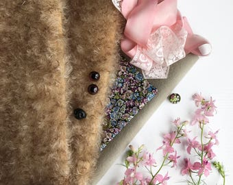 German mohair fabric, glass eyes, cotton batiste fabric liberty of london tana lawn, silk ribbon french lace, supplies for teddy, set #26