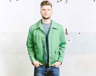 Men 60s Bomber Jacket . Green Garage Jacket Vintage Rockabilly Button Down Jacket Coat Outerwear Lightweight Jacket . size Medium
