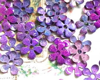Shabby chic metal flowers, Vintage Enamel Flower Beads, Cottage Chic flowers, Enamel beads, Steampunk Flowers,Boho Flowers #599AE