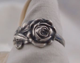 Spoon Ring  in Sterling Silver Size 8 1/2 Tea Rose
