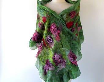 Nuno felted scarf  Green Pink Silk shawl women nunofelted scarf Spring floral scarf  Nuno felted scarf Floral women shawl by Galaflc