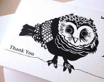 Owl Card, 5 x 7 Black and White Illustrated Blank Card, Baby Owl Card, Thank You Card, Gift for Women, Gift for Her, Owl Lover Gift