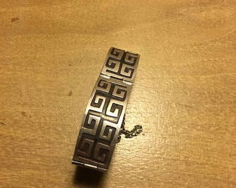 SUMMER SALE 50s 60s Rare Mexican Aztec Pattern Sterling Silver Bracelet