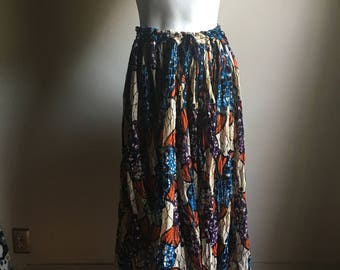 African Print Gauze Cotton Drawstring Mid Full Skirt