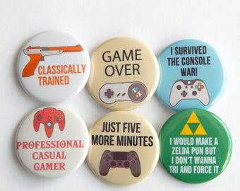 "Video Game Pin 1.5"" Video Game Controller, Gamer Birthday Fridge Magnet, Pin For Jacket, Backpack Button Stocking Stuffer, Locker Decoration"