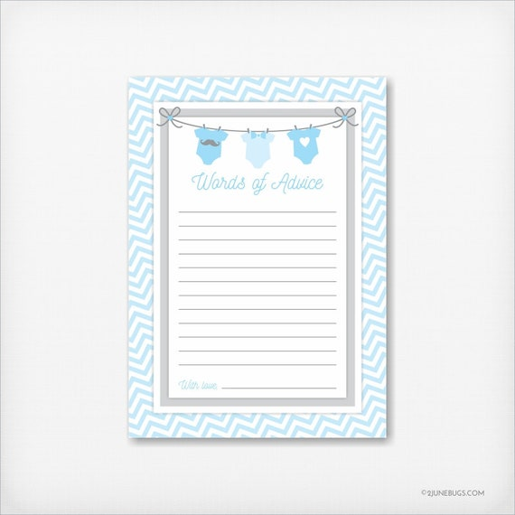Clothesline Baby Shower Words Of Advice Card Advice For New Parents