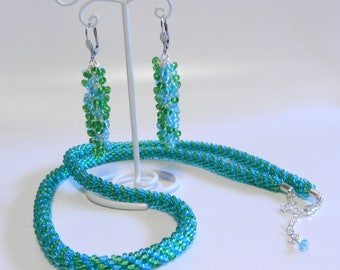 RESERVED - Blue and Green Kumihimo Necklace and Earrings Set