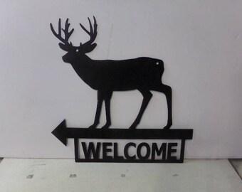Deer 002 Welcome with Arrow Metal Wildlife Wall Art Silhouette