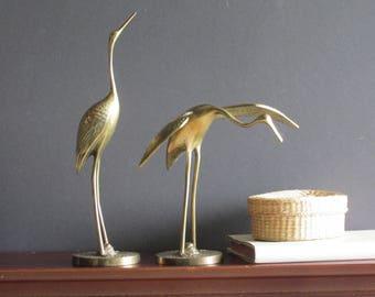 vintage home decor - quirky animals - Cranes - brass figurine