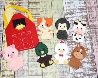 Farm Animal Finger Puppets | Barn Storage Bag | Barnyard | Busy Bag | Old McDonald | Eco Felt Finger Puppets | Set of 8 | Ready To Ship