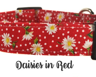 Red and White Floral Dog Collar - The Daisies in Red
